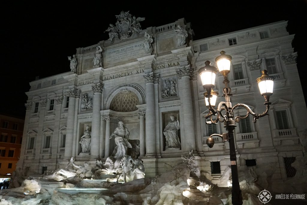 The Fontana di Trevi in Rome at night