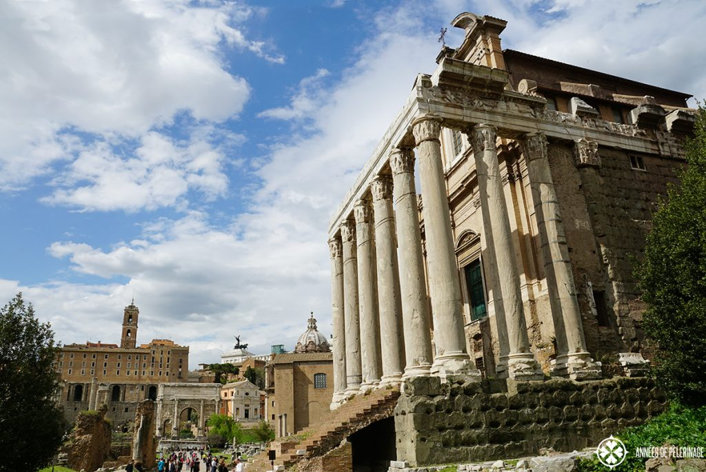 The Roman Forum in the heart of Rome - view along the via sacra