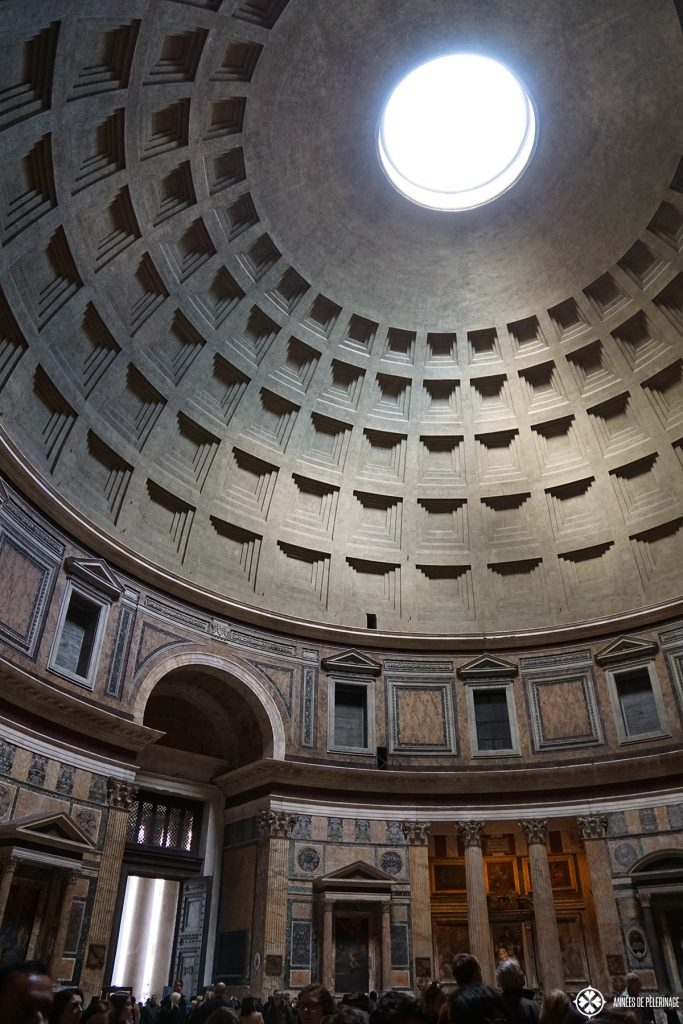 The view on the cupola of the Pantheon from inside.