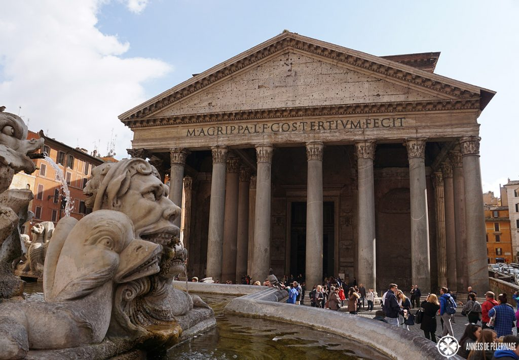 The famous Pantheon from outside - 2000 years old and still intact!