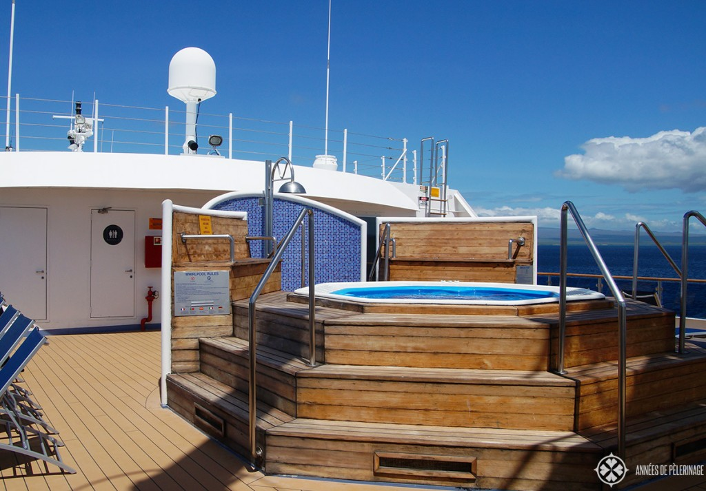 The public hot tub on the sun deck of the Celebrity Xpedition Galapagos Cruise ship