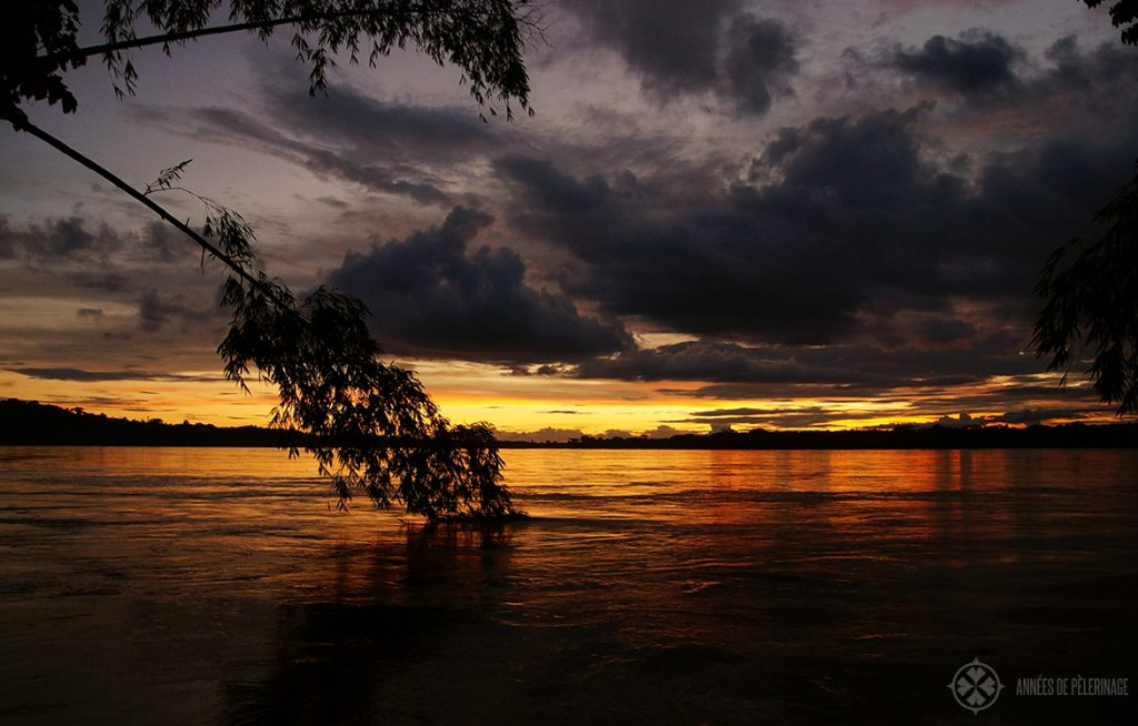 Sunset over the Amazon River inside the Yasuni National Park in Ecuador