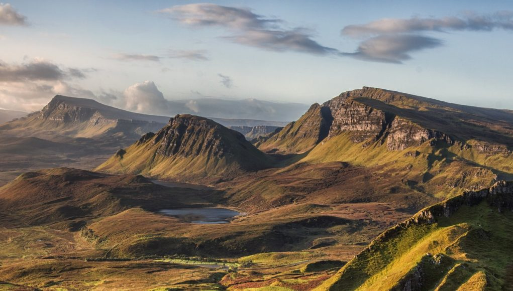 The view of the Quirang mountains on the Isle of Skye in Scotland