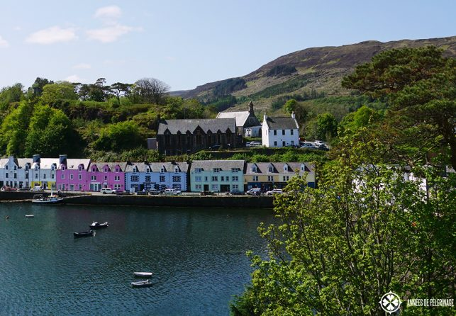 The harbor of the town of Portree on the Isle of Skye in Scotland