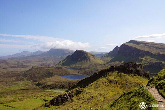The Quiraing mountain range with its many tiny lochs - one of the most beautiful things to do on the Isle of Skye