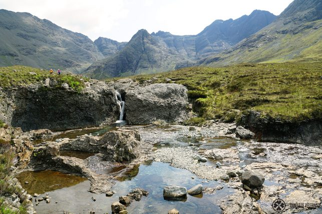 The Fairy Pools with the Cuillin mountains on the Isle of Skye in Scotland