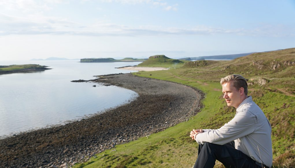 Me sitting at the white coral beach on the Isle of Skye in Scotland