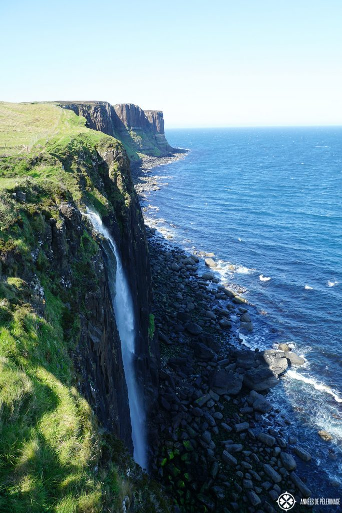 The mealt falls crashing into the ocean near Kilt Rock on the Isle of Skye in Scotland