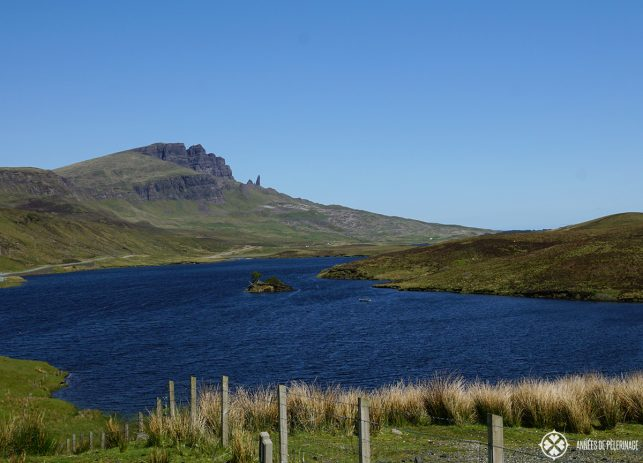 The Old man of Storr on the Isle of Skye in Scotland seen from afar