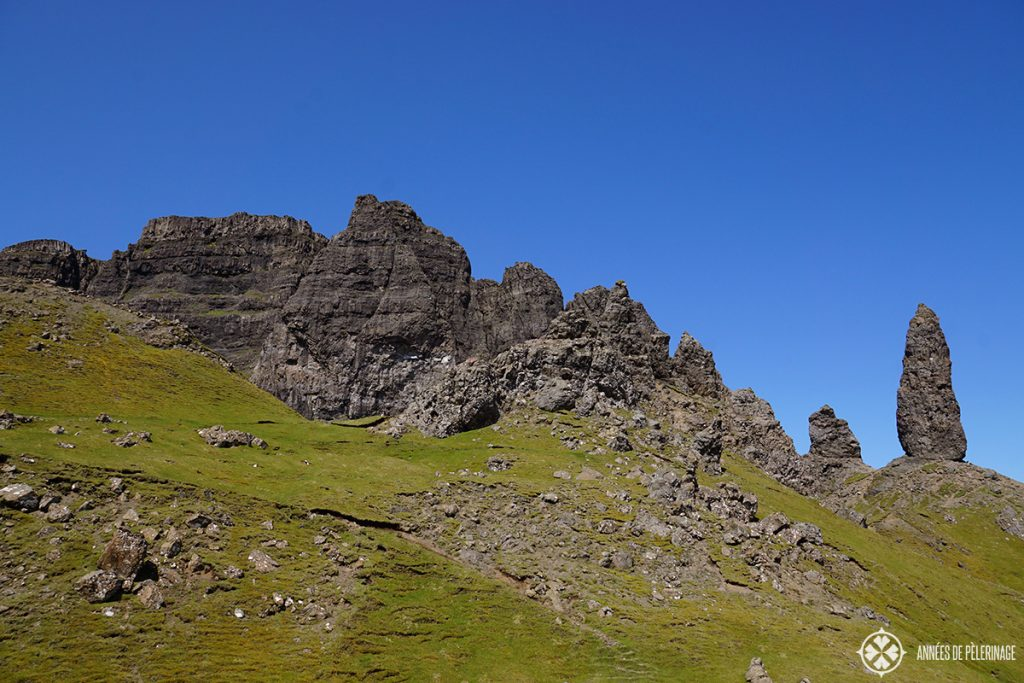 The Old man of Storr on the Isle of Skye in Scotland - a 40 meter high rock needle
