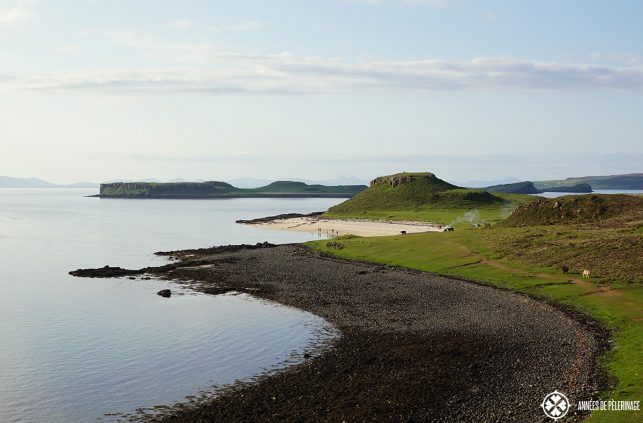 The white coral beach near Dunvegan on the Isle of Skye in Scotland