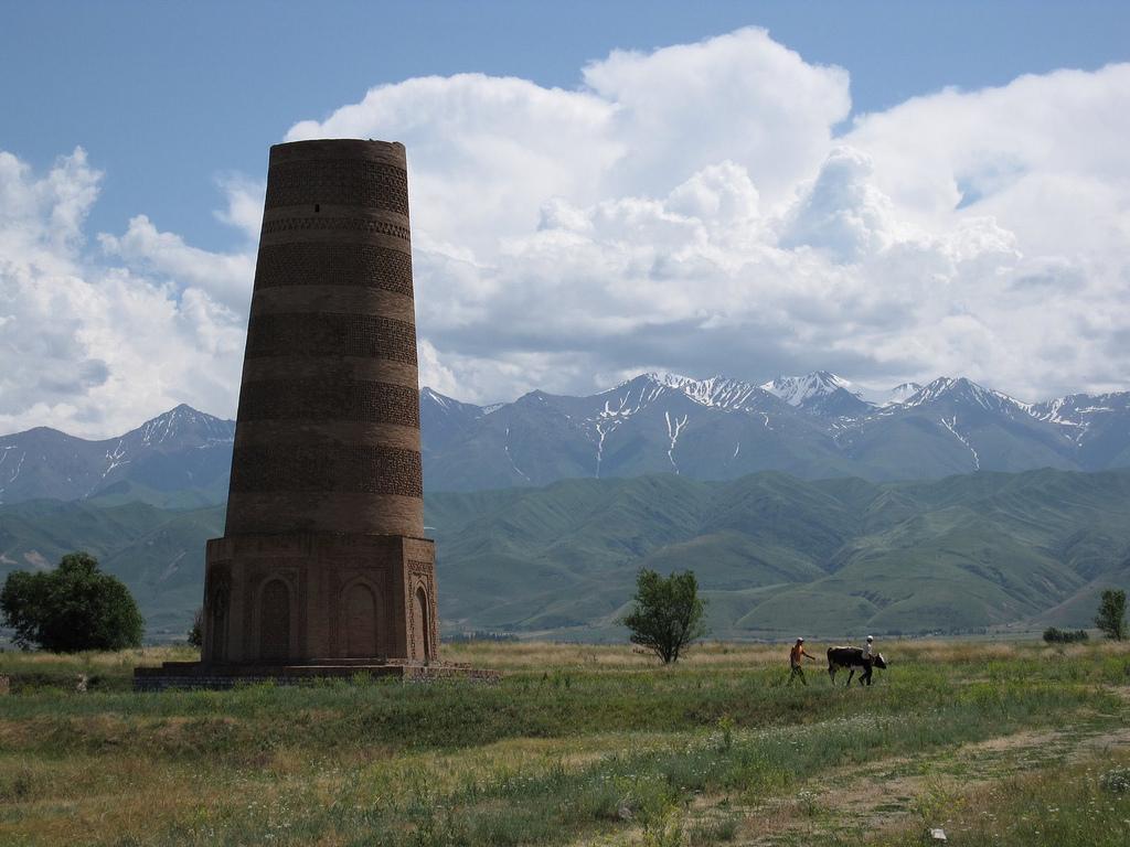 Burana Tower (11th century, Soviet reconstruction), north-central Kyrgyzstan