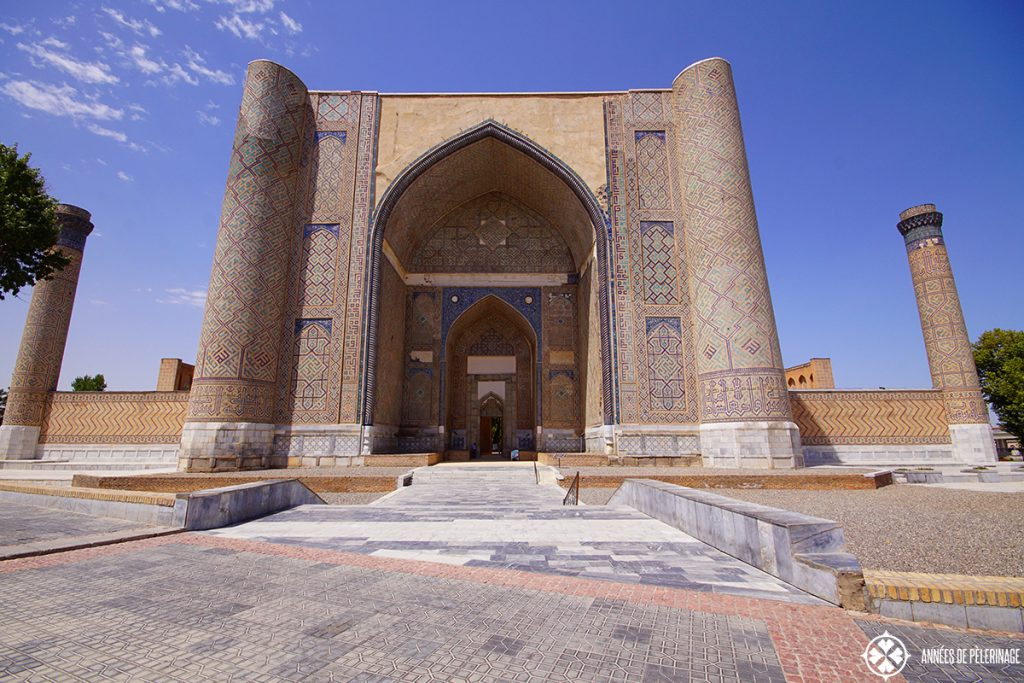 The giant Bibi-Khanym Mosque in Samarkand, Uzbekistan