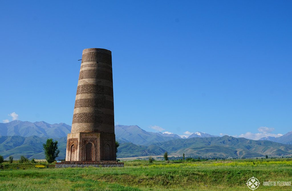 The famous Burana Tower, quite close to the capital Bishkek. Of all the things to do in Kyrgyzstan, this is what most tourists will cover.
