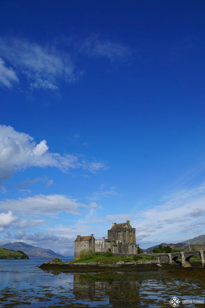 Eilean Donan Castle Scotland at low tide. It is often called Scotland's most beautiful castle