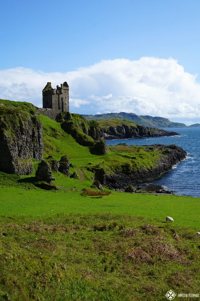 Gylen Castle ruin on Kerrerea Island near Oban Scotland sitting on its cliff