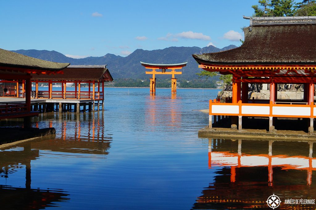 The Itsukushima shrine miyajima japan at full tide