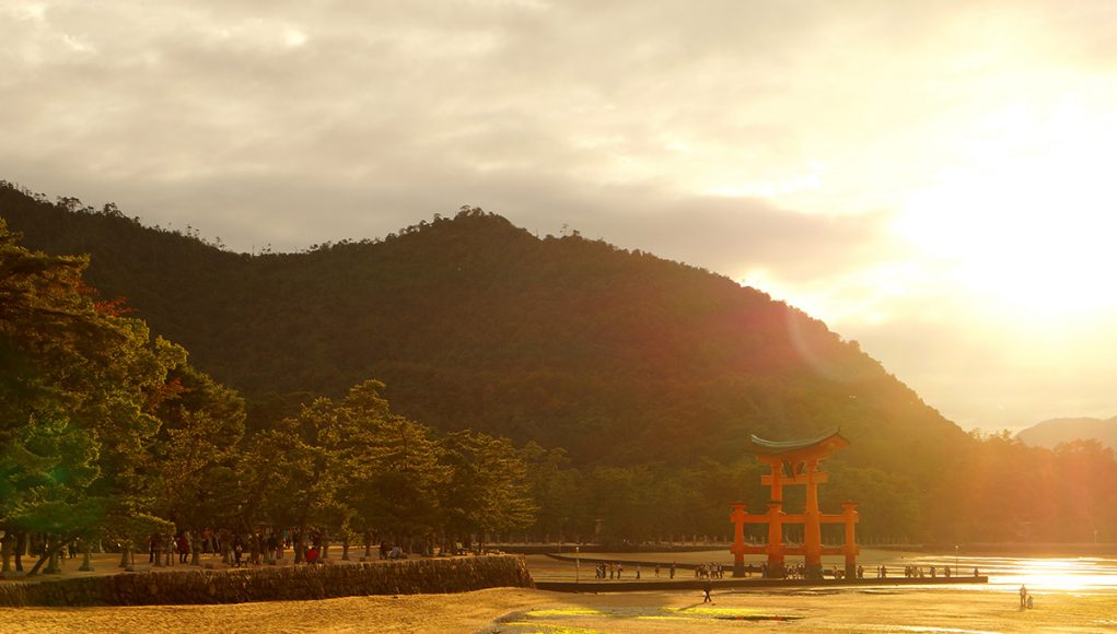 The tori of the Itsukushima shrine miyajima japan low tide