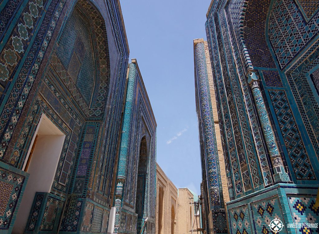 A blue ailse inside the Shah-i-Zinda necropolis in Samarkand, Uzbekistan