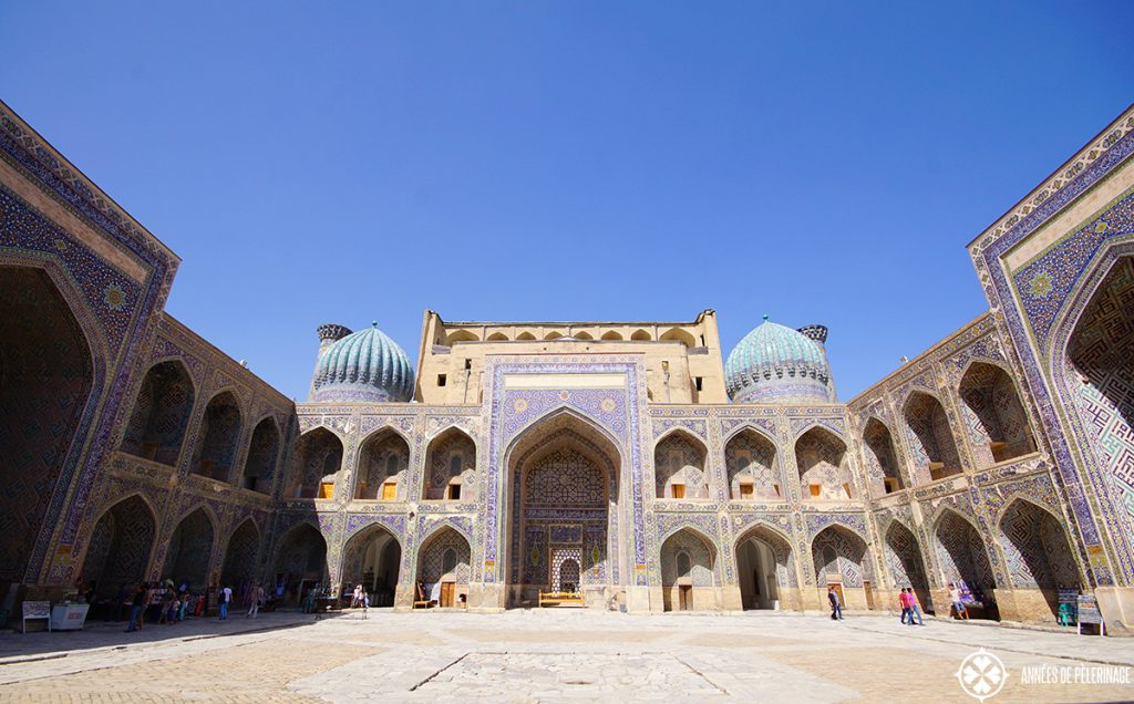 The courtyard of the Sher-Dor Madrasah courtyard with cells for the pubils in Samarkand