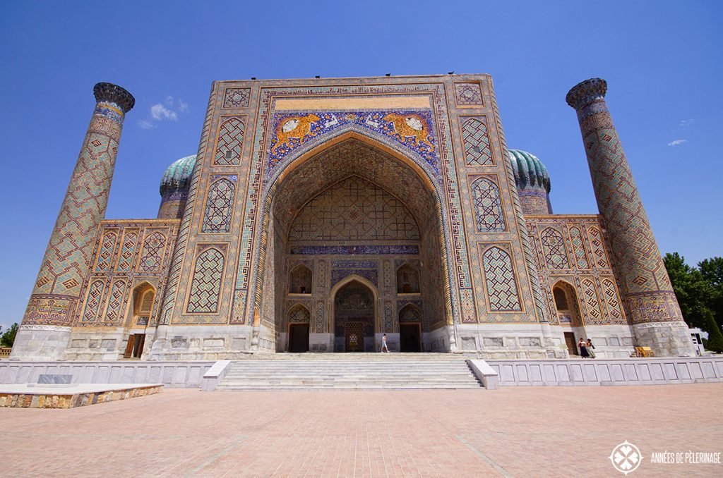 The Sher-Dor Madrasah in Samarkand, Uzbekistan, flouting its tiger mosaic