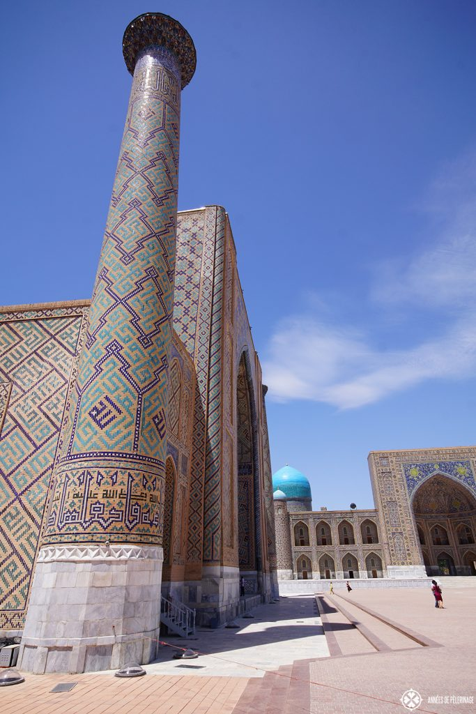 Ulugh Beg Madrasah Samarkand Uzbekistan side view; you can actually climb the minarets if you bribe one of the soldiers