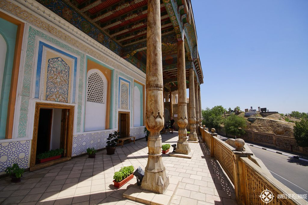 The balcony of Khazret-Khyzr Mosque in Samarkand, Uzbekistan