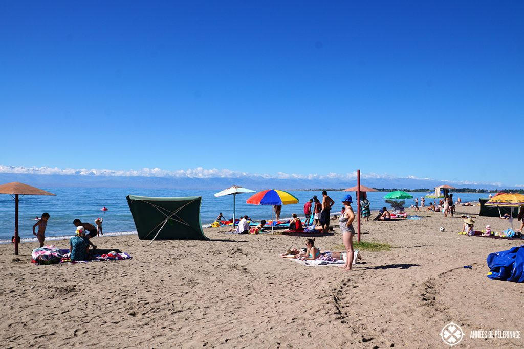 The beach in Tamshy, Kyrgyzstan. Located at the issyk-kul lake, many locals come here in summer
