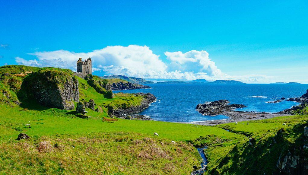 One of the best castles in Scotland: Gylen Castle ruin on Kerrerea Island near Oban Scotland