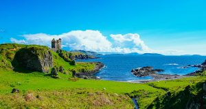 One of the best castles in Scotland: Gylen Castle ruin on Kerrerea Island near Oban Scotland