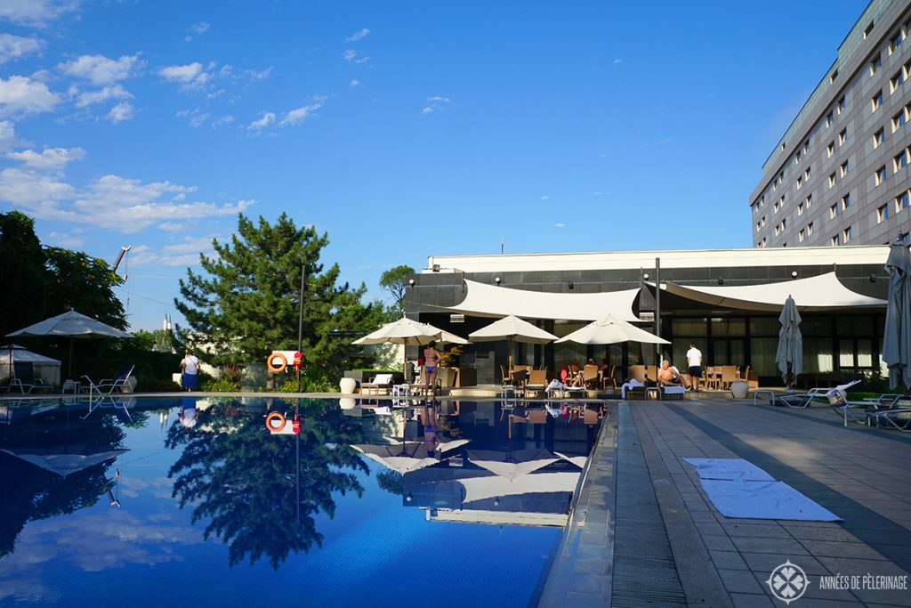 The pool of the Hyatt Regency in Bishkek Kyrgyzstan. The only true luxury hotel to speak off