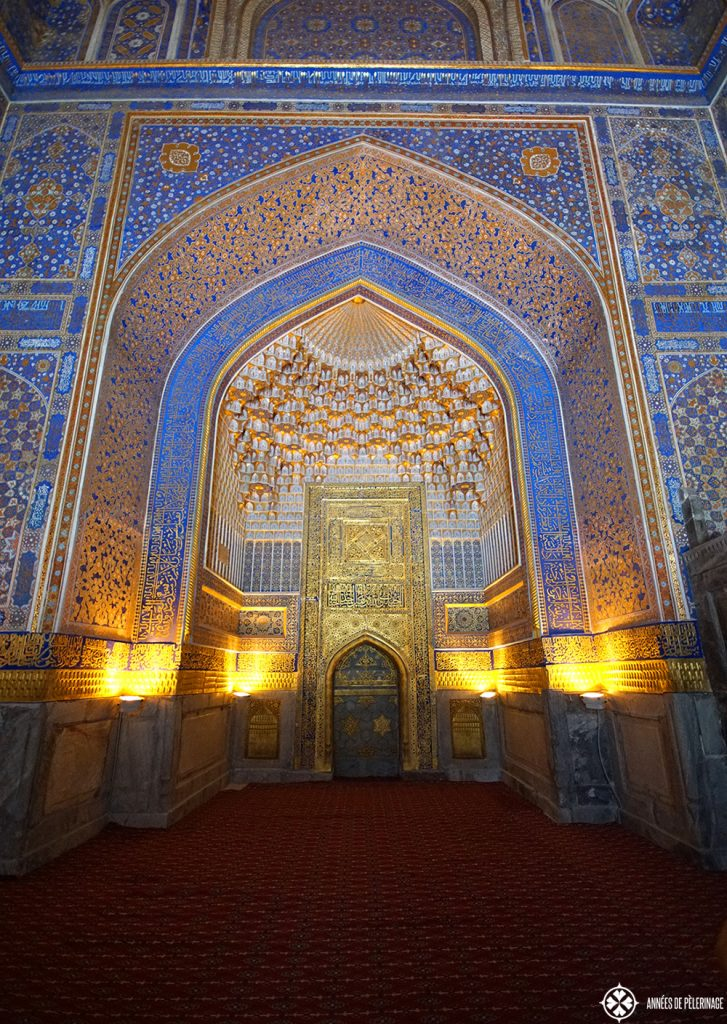 Rich decoration inside the Tilya-Kori Madrasah in Samarkand, uzbekistan