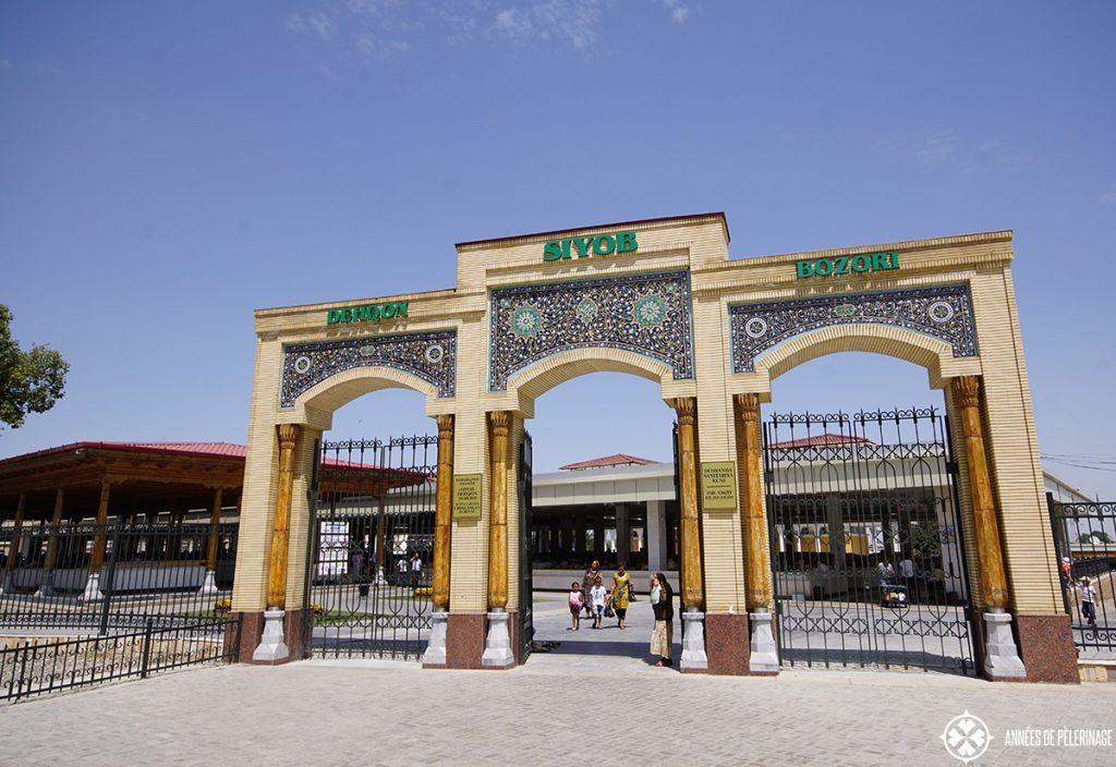 The entrance portal to the siyob bazar in Samarkand, Uzbekistan