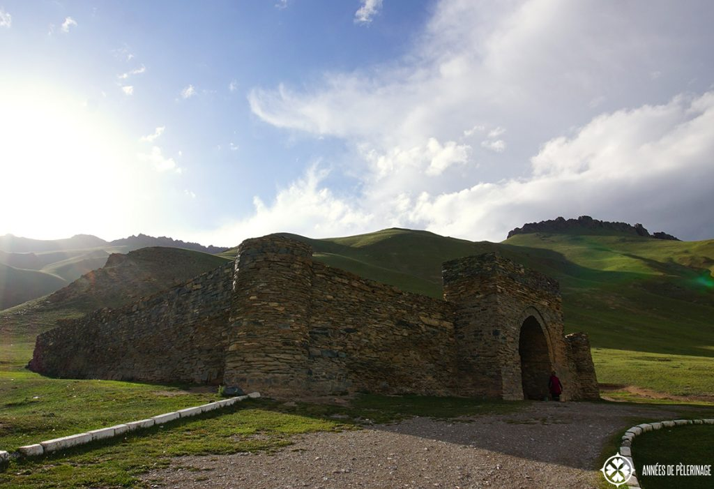 The silk road caravanserai of Tash Rabat in Kyrgyzstan at sunset