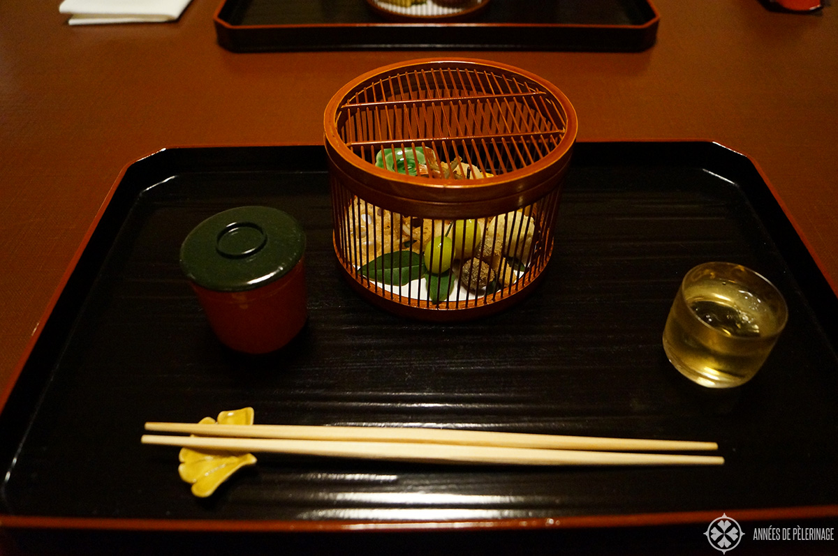 A course of a Kaiseki dinner in Kyoto (season autumn)