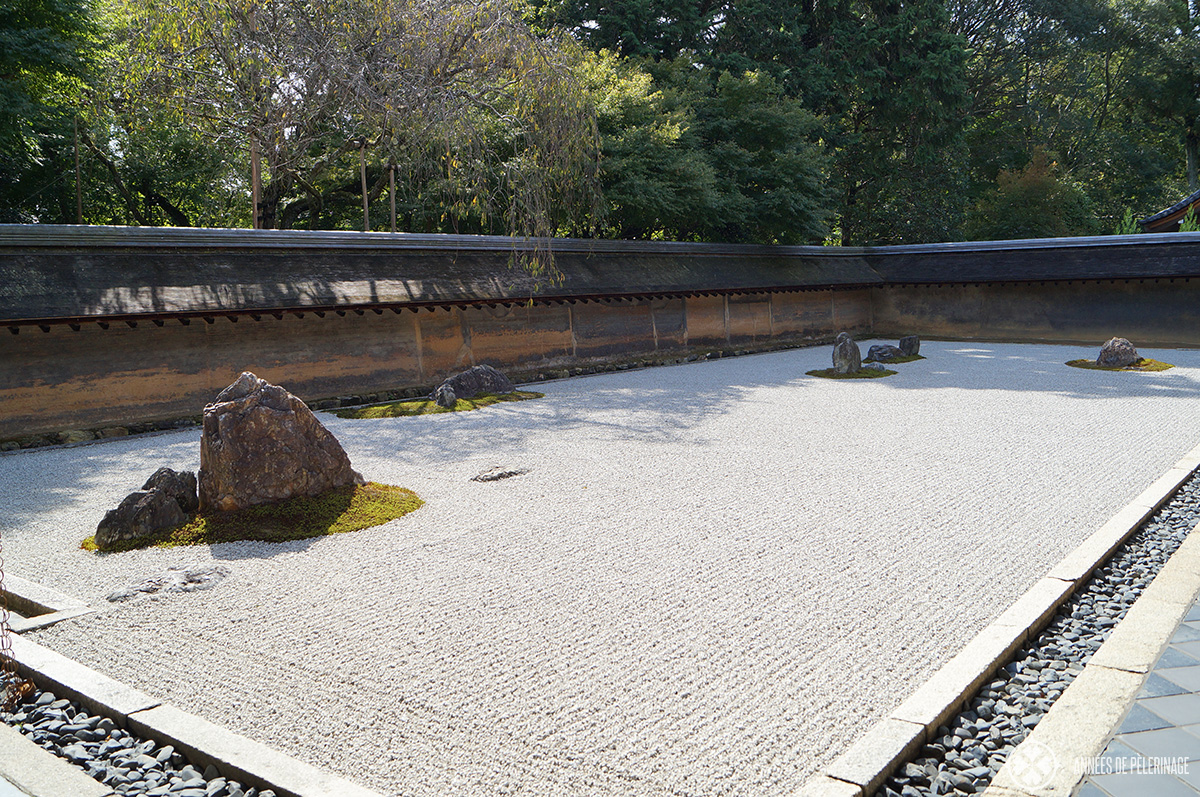 The zen rock garden of the Ryoan-ji temple in Kyoto