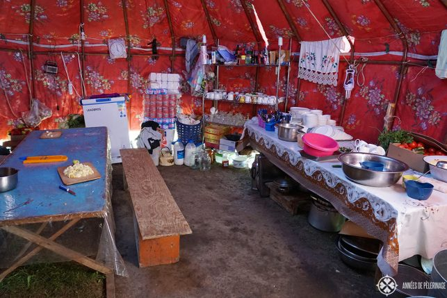 A traditional yurt kitchen in Kyrgyzstan