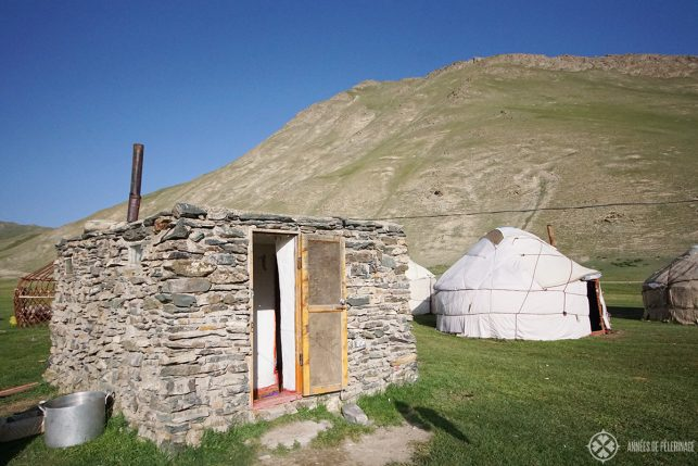 A traditional outhouse in front of a Kyrgyz yurt