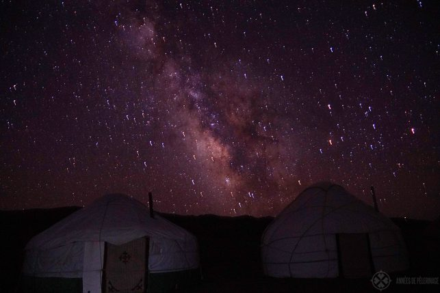 Yurts at night with the milky way behind it in Kyrgyzstan - so pack a flash light guys!