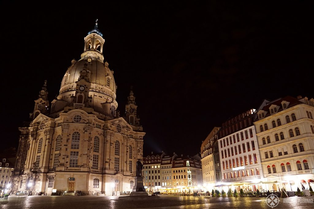 The Frauenkirche in Dresden at night illuminated by thousands of lights