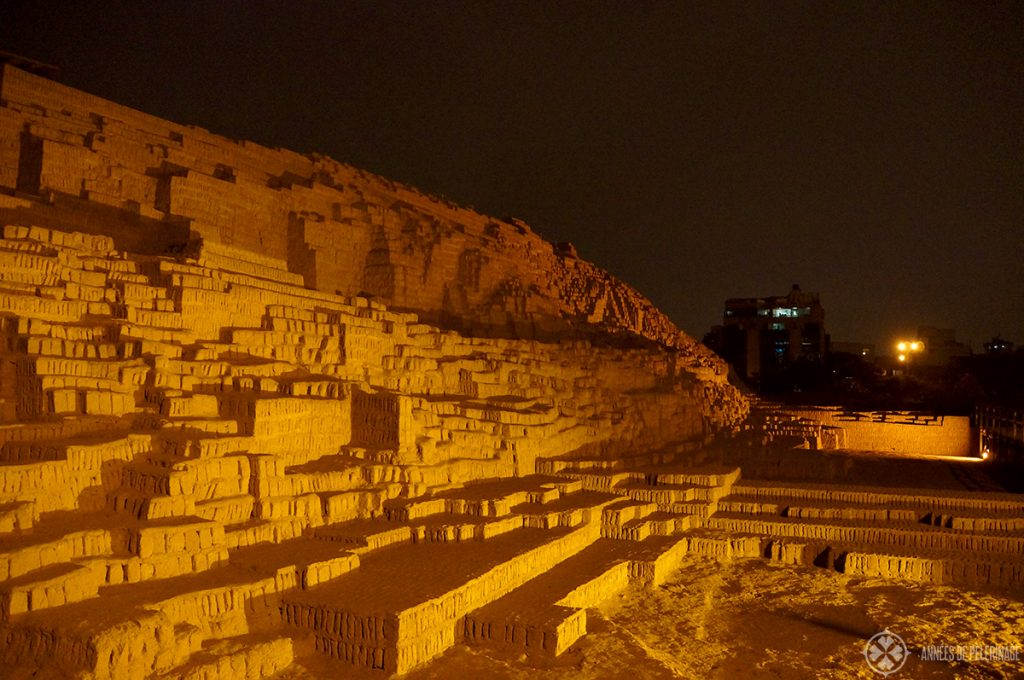 HUaca puccllana at night. One of Lima's best places to have dinner
