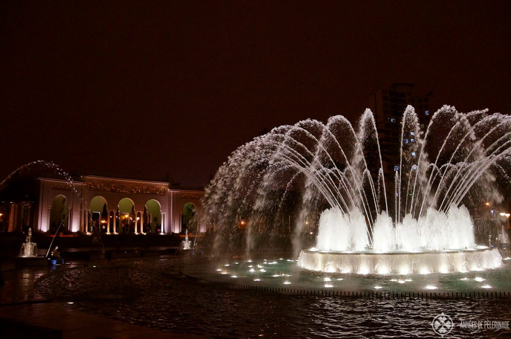 A fountain at the Parque de la Reserve water park in Lima, Peru at night