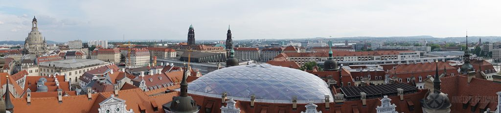 The city panorama of Dresden as seen from the tower of the castle