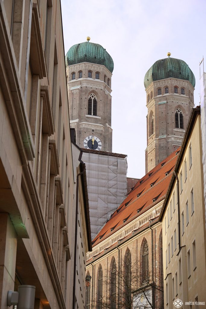 The towers of the Frauenkirche in Munich, Germany.