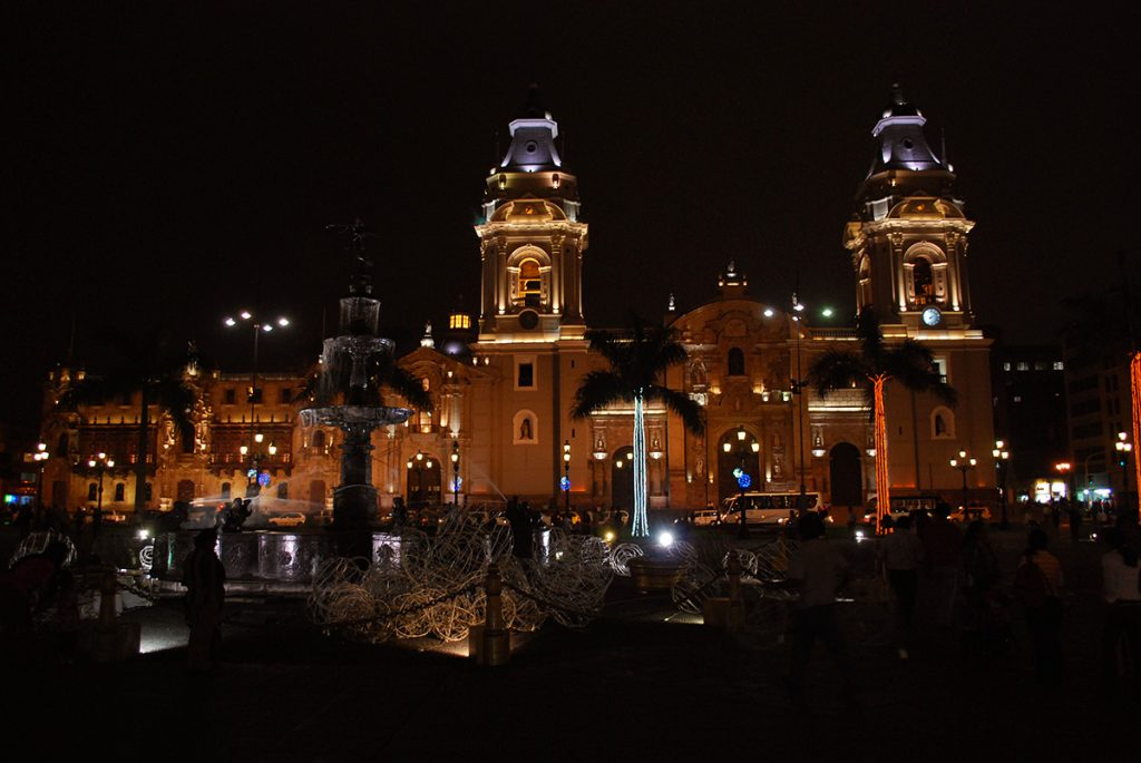 The Cathedral of Lima at night