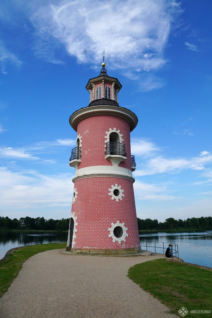 The pink lighthouse in the park of the Moritzburg water castle near Dresden, Germany