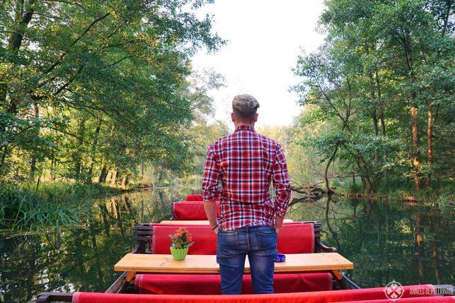 Me on a private boat tour through the spreewald forest near Lübbenau