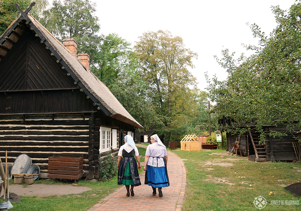 Two sorbian women walking around the Spreewald Museum in Ledhe, gremany