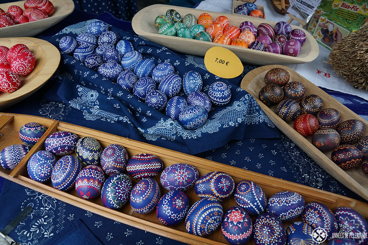 Traditional sorbian easter eggs in the Spreewald forest in Germany