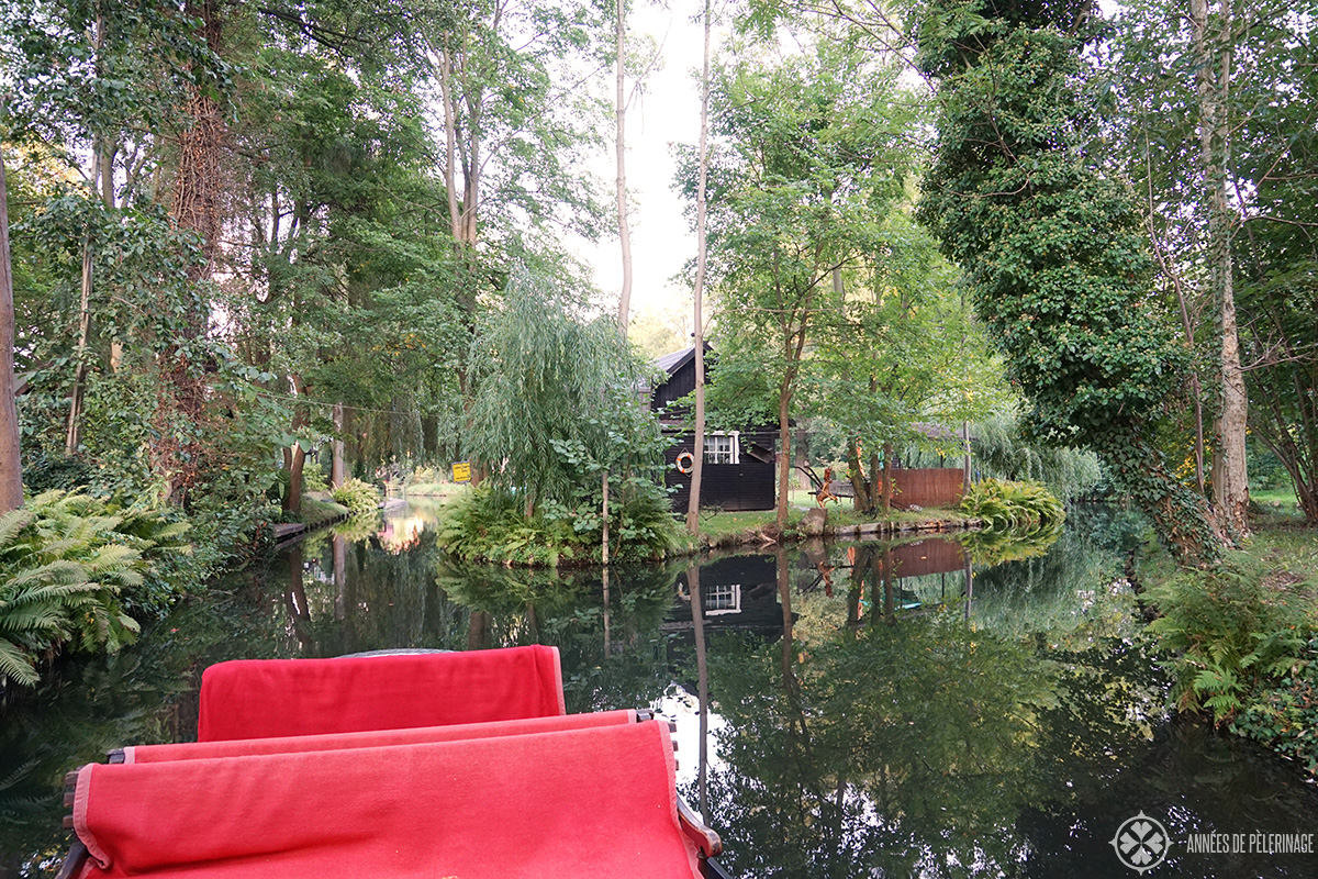 Water channels in the town of Lübben in the Spreewald forest in Germany